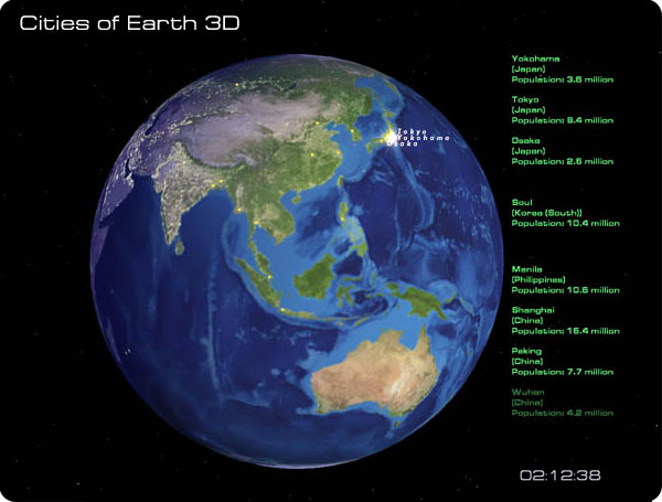 Beautiful 3D screensaver which shows biggest cities of our planet. Screen Shot